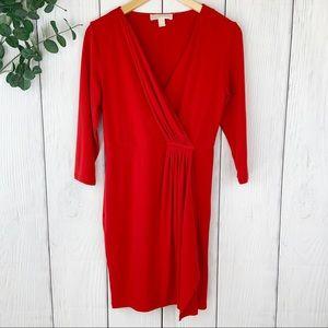 Michael Kors Red Faux Wrap Dress